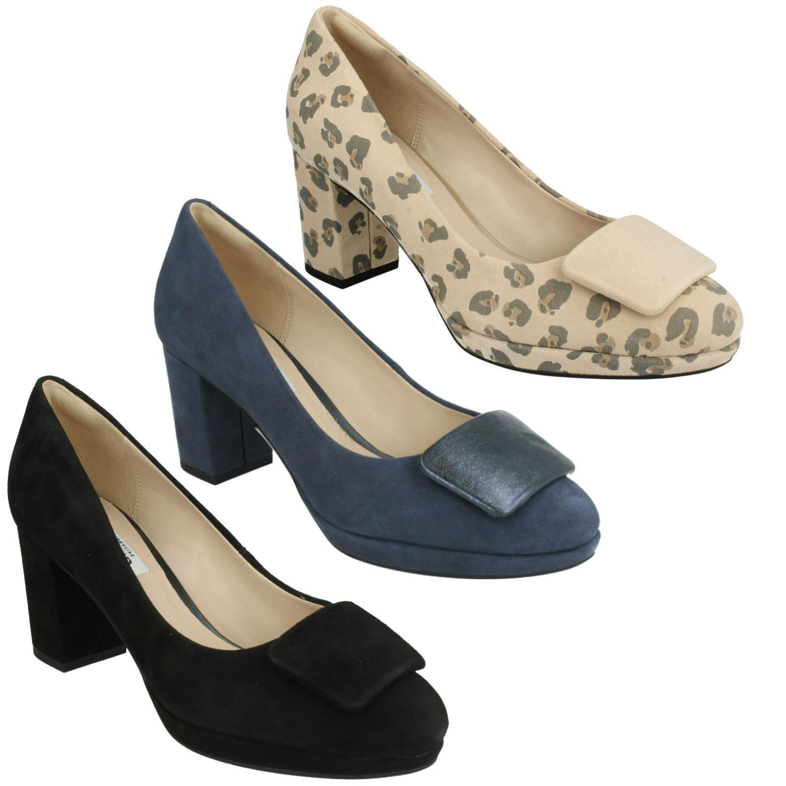 KELDA GEM LADIES CLARKS SUEDE DRESS WORK SLIP ON PLATFORM HEELED COURT Schuhe