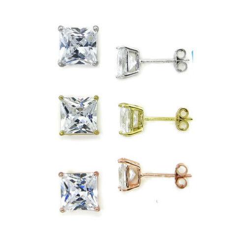 Set of 3 Real Sterling Silver Princess Cut Diamonique CZ Stud Earrings FREE SHIP