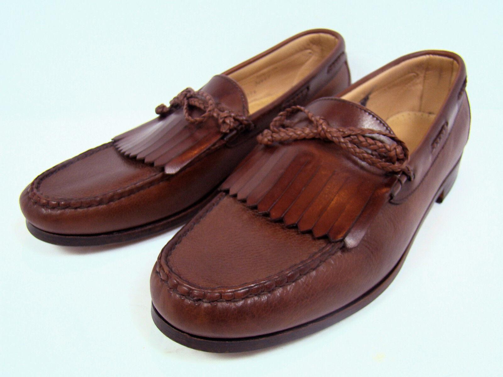Allen Edmonds Nottingham Men's 11.5 Loafers Brown Leather Kiltie Bow Dress shoes