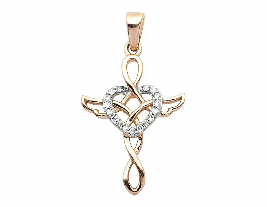 Ladies 10K pink gold Real Diamond Heart Heart Pendant .05 ct