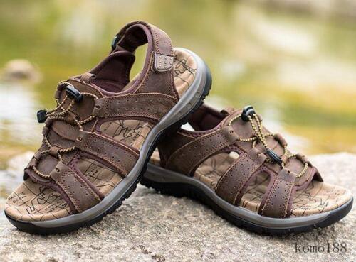 Mens open toe outdoor leather sport beach sandals flat hiking climbing sneaker