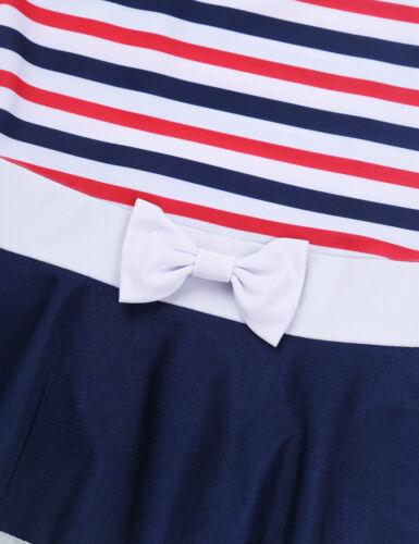 Girls One-piece Striped Skirted Swimwear Kid Beach Swimming Bathing Suit Costume