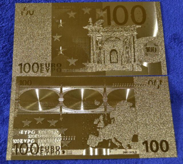 100 Euro Banknote Geldschein in Gold Originalgröße Goldfolie mit Zertifikat