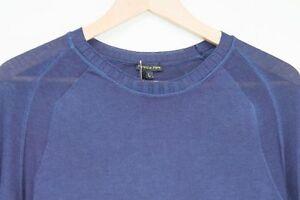 NWT-Made-In-Italy-Designer-Luxury-Super-Fine-100-Cotton-Jumper-Blue-Men-s-M