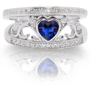 Elegante-Zafiro-Azul-Corazon-Plata-de-Ley-Rodio-Anillo-Compromiso-Boda-Set