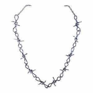 Pewter silver handmade diamond cut barbed wire chain jewelry image is loading pewter silver handmade diamond cut barbed wire chain aloadofball Images