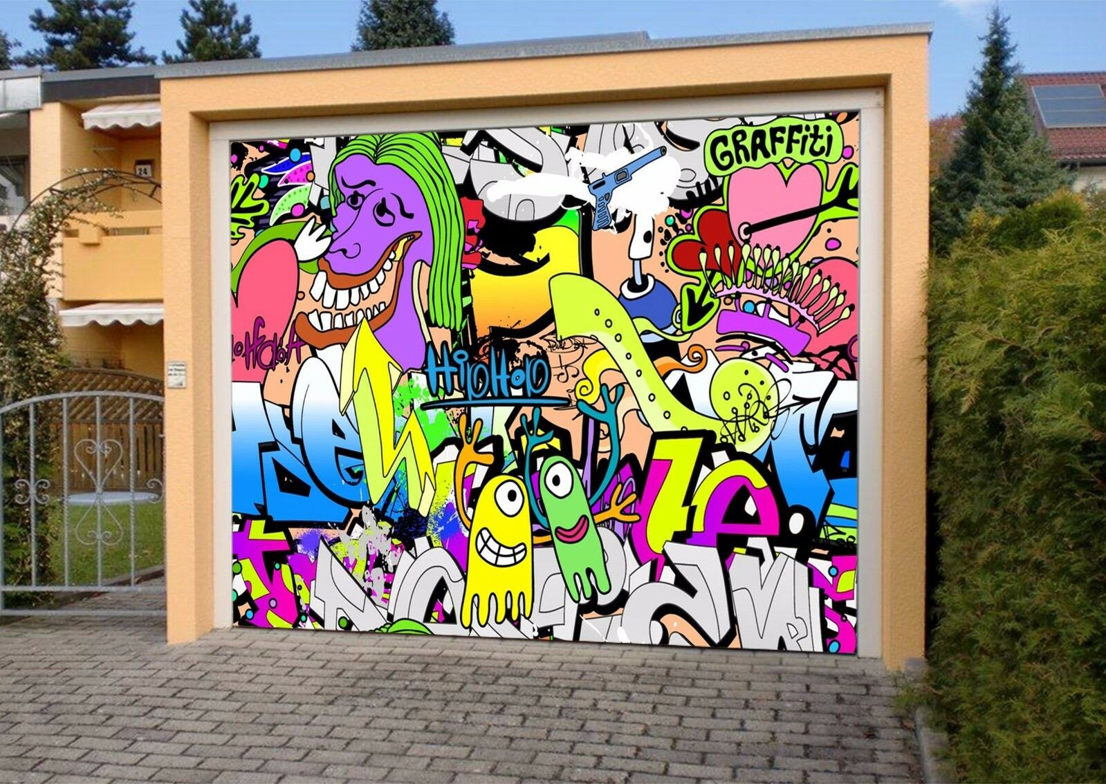 693 Graffiti 3d Garage Wall Lemon Au Wallpaper Aj Wall Decal