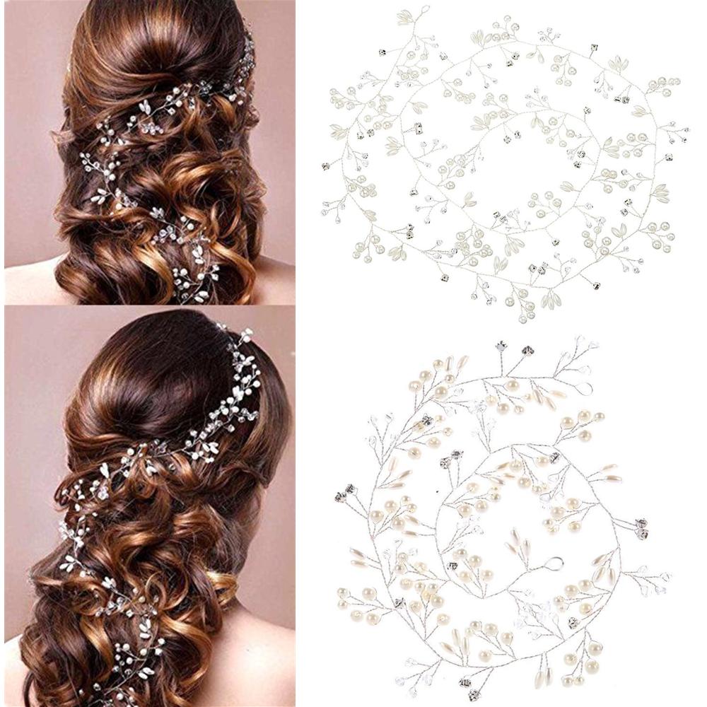 Wedding Pearls Hair Vine Crystal Bridal Accessories Diamante Headpiece
