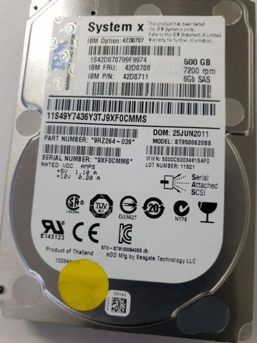 """IBM 500GB 7.2K 6gb 2.5/"""" SAS 42D0707 42D0708 ST9500620SS HARD DRIVE NO CADDY"""