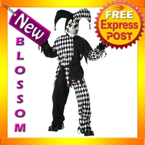 CK90 Evil Jester Black White Mardi Gras Boys Child Halloween Fancy Dress Costume