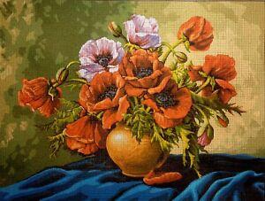 Gobelin-Stickbild-Stickpackung-Vase-mit-Blumen-halber-Kreuzstich-40x30-389