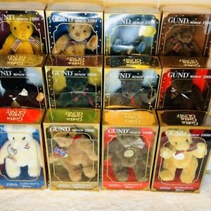 Lot-of-12-Gund-Limited-Edition-Collectors-Bears-Box-Jointed-1988-to-1999-Vintage