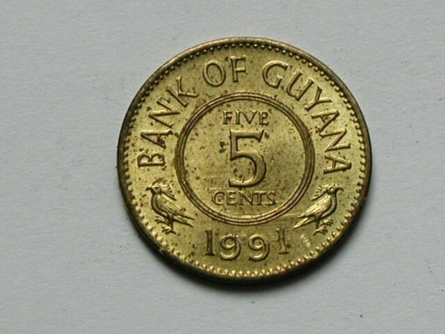 Guyana 5 Cents Stylized Lotus Flower Coin