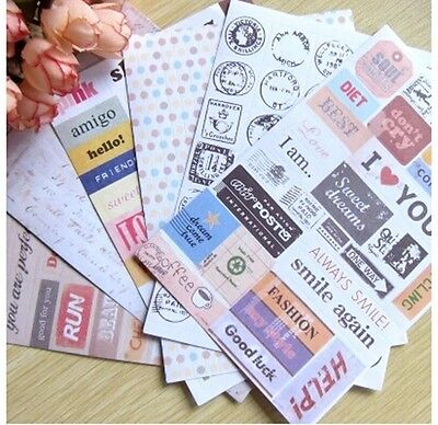 6sheet Retro postmark English letters book diary notebook calendar paper sticker