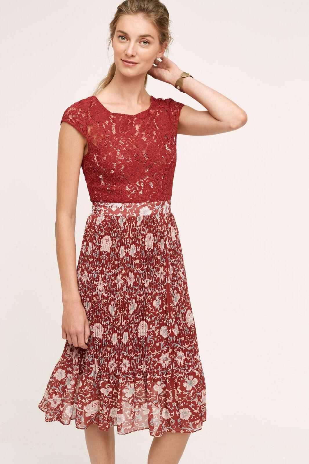 NWT - ANTHROPOLOGIE - TRACY REESE - Arcadia Midi Dress - size 0 2 (Crimson)