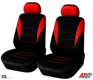 2 RED HIGH QUALITY FRONT CAR SEAT COVERS PROTECTORS FOR RENAULT SCENIC