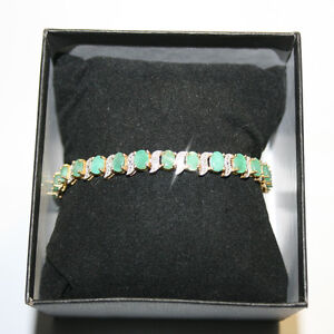 11-25ct-Genuine-Oval-Emerald-Diamond-Tennis-Bracelet-14k-Yellow-Gold-over-925-SS