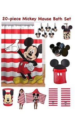 20pc Mickey Mouse Bath Set Shower Curtain Hooks Soap Pump Hooded Towel Lot Kids Ebay