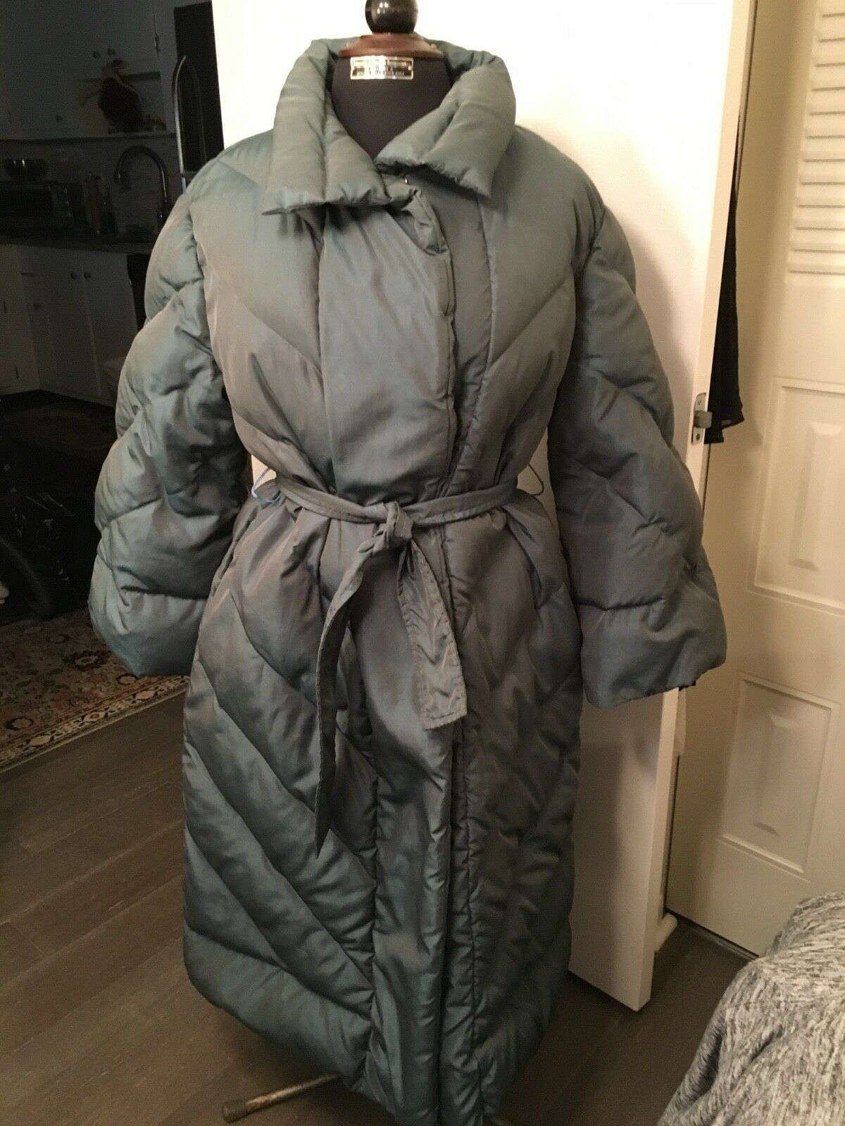 Vintage Bill Blass Quilted Down Puffer Coat Steel… - image 1