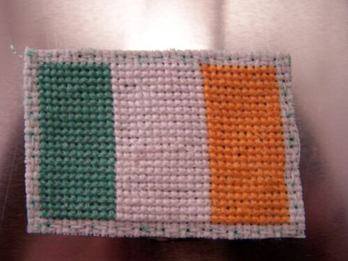 Cross Stitched Irish Flag Magnet with Clothes Pin Clip