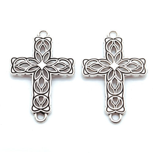 Wholesale 20Pcs 3 Color Retro Hollow Out Cross Charm Connector Jewelry pendants