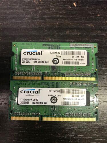 2X2GB 1Rx8 PC3-8500 SODIMM Memory RAM iMac Macbook Pro 30dayWT Crucial 4GB Kit