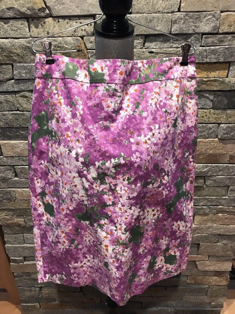 J Crew Pencil Skirt Purple Watercolor Floral Cotton Size 12