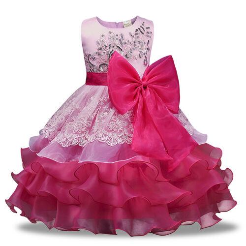 Kinder Mädchen Prinzessin Fest-kleid Partykleid Hochzeit Abendkleid Tutu Kleider