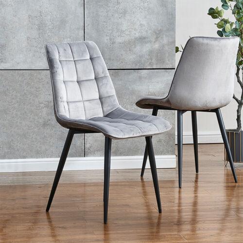 Set of 2 Grey Velvet Dining Chairs Kitchen Dinning Room Metal Leg Padded Modern