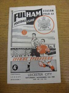 12/11/1960 Fulham v Leicester City (Team Changes). Item ...