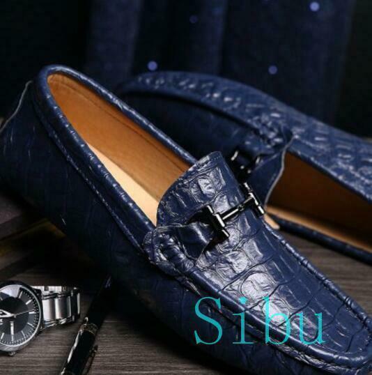 Men Leather sautope Flat crocodile Slip On Metal Decor Loafers Driving moccasin 9 Sautope classeiche da uomo