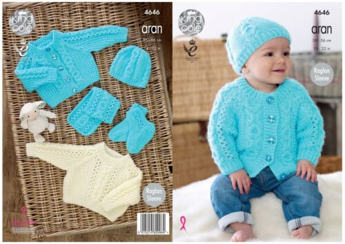 Knitting Pattern King Cole Baby Aran Pull Cardigan Chapeau Écharpe Chaussons 4646