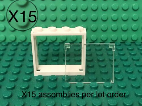 Lego X15 White Window Frame 1x4x3 With Trans-clear Glass Opening Home Building