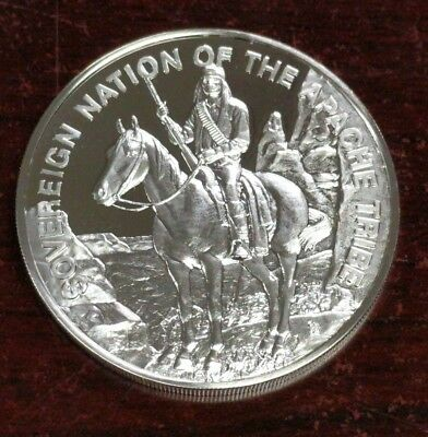 1971 Sioux Indian Tribal Nations Art Medal Franklin Mint 999 Fine Silver Round