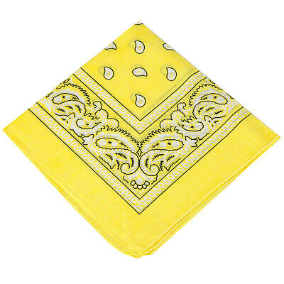 Mens Ladies Kids Unisex Paisley 100/% Cotton Bandana YELLOW Biker Neck Scarf Tie