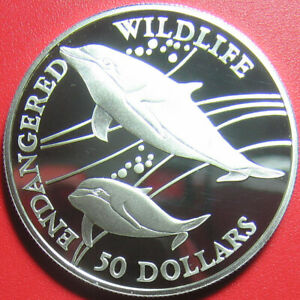 1991-COOK-ISLANDS-50-SILVER-PROOF-HEAVISIDE-039-S-DOLPHIN-ENDANGERED-WILDLIFE-RARE
