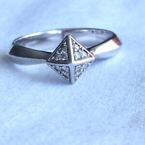 $795 Stephen Webster Diamant Argent Sterling Pyramide Bague De Fiançailles-afficher Le Titre D'origine