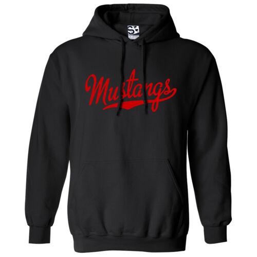 Hooded School Sports Team Sweatshirt  All Colors Mustangs Script /& Tail HOODIE
