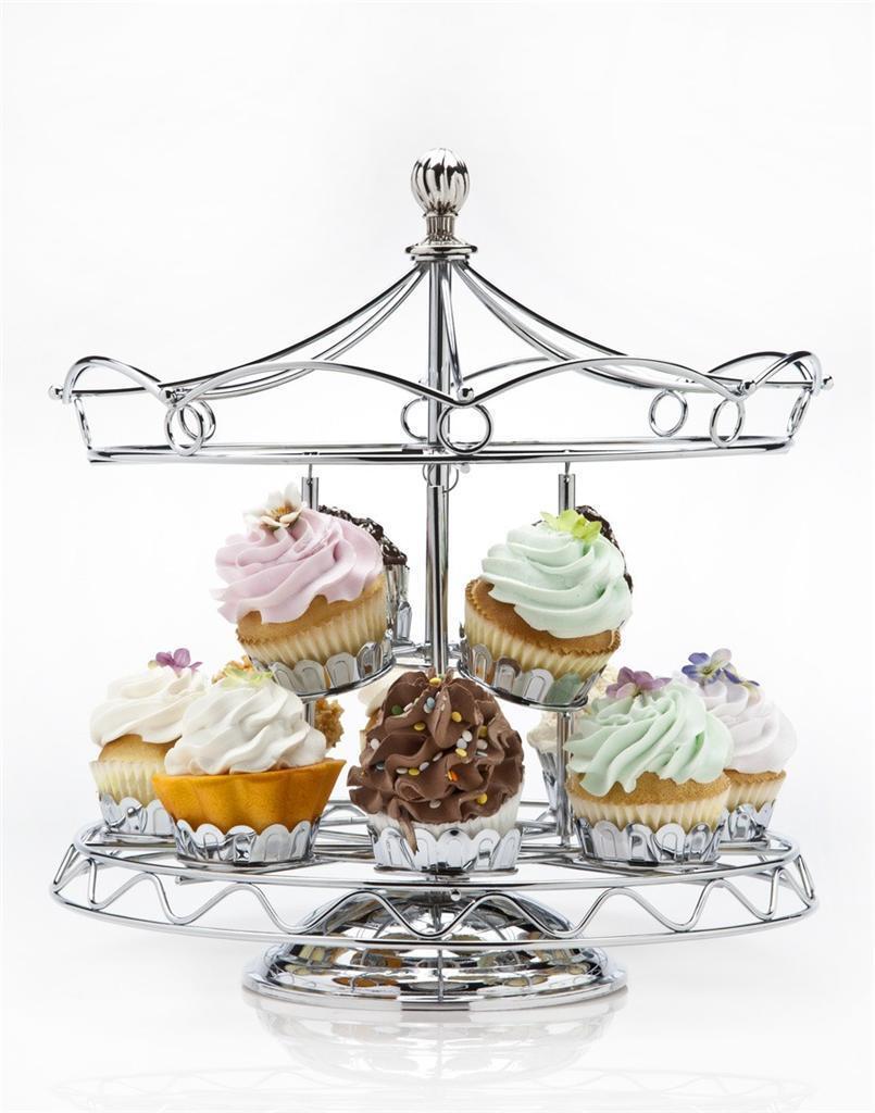 Godinger carrousel rougeatif Cupcake Support Détient 12 Cupcakes Argent Chromé
