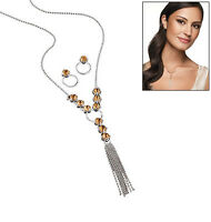 Avon Sparkling Y Necklace Earrings Gift Set Amber Color Crystal Free Jewelry