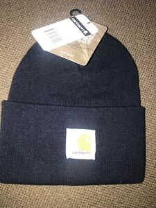 d3a7cb66ece824 NWT Adult Carhartt A18 Navy Blue Acrylic Watch Cuffed Hat Made In ...