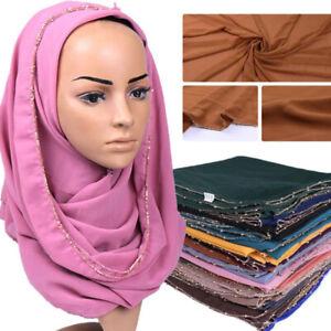 Women-039-s-Ladies-Chiffon-Hijab-Scarf-Gold-Chain-Hijab-Muslim-Scarves-Head-Wrap-New