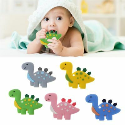 Dinasaur Necklace Pendant Silicone Teether Baby  Sensory Teething Chew Toy G