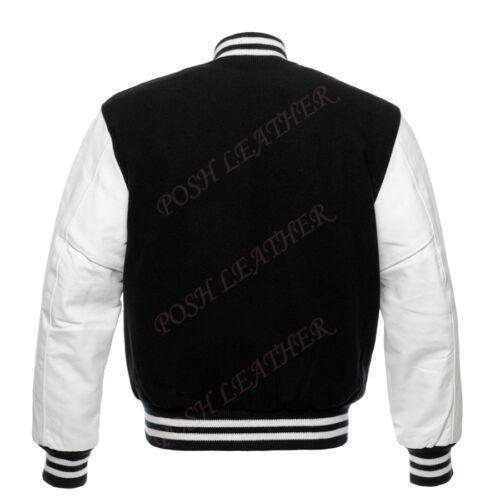 Varsity Letterman Baseball Jacket Black wool and Genuine Cow Leather Sleeves