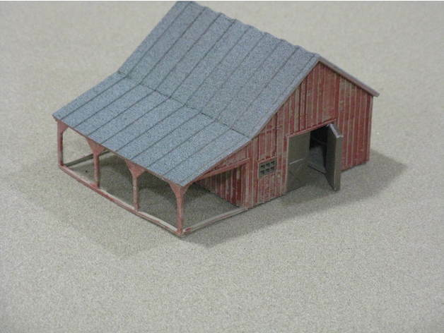 HO Scale Small Barn with accessories. 3D printed kitHigh Detail (Gray)