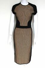 David Koma Black Beige Striped Stretch Midi Dress S