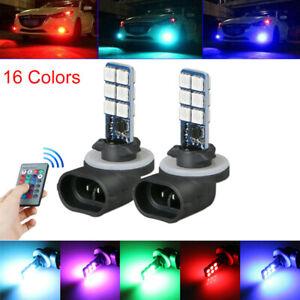 2x-881-5050-RGB-LED-12SMD-Faros-Coche-Luz-de-Niebla-Lampara-Bombilla-Multi-Color-Control-Remoto