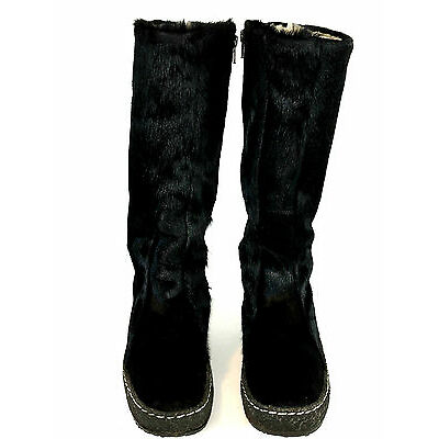 Schapuro Knee High Boots Goat Fur  Black Size 7 USA.