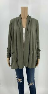 Lori-Goldstein-LOGO-Lounge-Open-Cardigan-Sweater-Size-S-Green-Soft-Jacket-X1