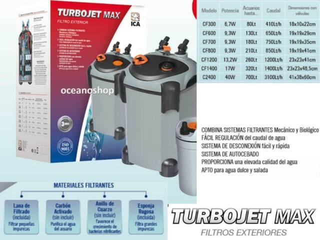 FILTRO EXTERIOR TURBOJET MAX CF300 410l/h acuario filtracion externo bomba 6,7w